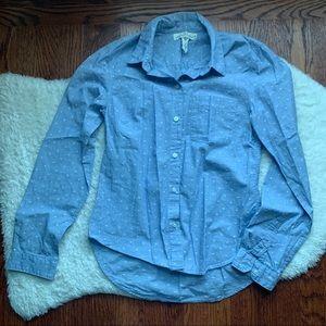 H&M Blue Polka Dot Classic Button Down Shirt